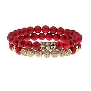 Fashion Women Men Luxury Micro Pave CZ Ball Crown Red Agate Bracelets Jewelry