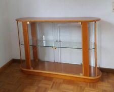 Vitrine in ovaler Form aus Glas und Kirschbaumholz H 86 cm, B 38 cm, L 135 cm