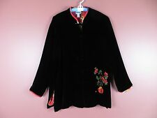 CJ0471- CHICO'S Woman Rayon Silk Jacket Oriental Collar Silk Lining Black 3 L-XL