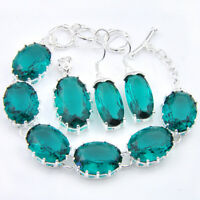 Wholesale 3 pcs 1 Lot Green Amethyst Silver Charm Bracelet Pendant Earrings Set