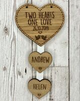 Personalised 2 Hearts One Love Hanging Heart Wedding Anniversary Valentines Gift
