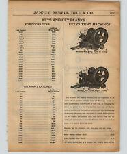 1934 PAPER AD Russwin Key Cutting Machine Duplicator Hand Crank Power