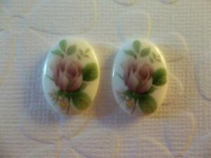 Vintage Cameos 18X13mm Glass Cabochons Pink Roses Rose Bud - From Japan - Qty 4