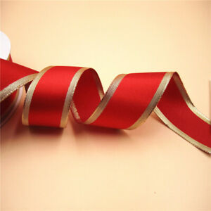 38mm X 25yards Wired Golden Lurex Edges Red Satin Ribbon for Gift Bow Wrapping