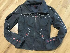 Designer Diesel Ladies 100% Cotton Dark Grey Fitted Jacket Size M
