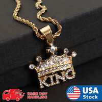 """Hip Hop Lab Diamond CROWNED KING Pendant & 3mm 24"""" Rope Chain Necklace"""