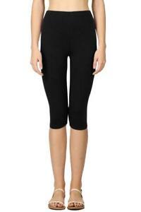 WOMENS BLACK PLAIN STRETCHY 3/4 CAPRI LENGTH LEGGINGS ELASTICATED WAIST SEAMLESS