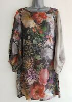 WHITE SUEDE By Jacqui Demkiw Women's Pink Sheer Floral Silk Shift Dress. UK 10.