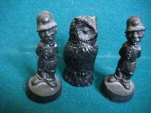 3 x Coal Figures Owl & 2 x Policemen E&J Mining Memories & Kingmaker