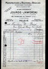 """PARIS (X°) USINE de BOUTONS & BOUCLES MILITAIRES """"JOURDE & JAWORSKI"""" 1936"""