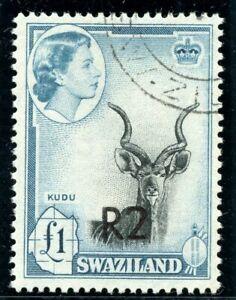 Swaziland 1961 QEII 2r on £1 black & turquoise-blue VFU. SG 77b. Sc 79b.