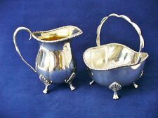 19th c  Cooper Bros & Sons Ltd  Silver Plated Sugar Basket & Milk Jug - E.P.B.M.