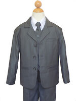FOUGER BOYS PINSTRIPED RECITAL, GRADUATION SUIT , GRAY/WHITE, SZ: 5,8,10,12