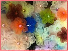 "1"" Organza Flower w/ Rhinestone Applique Sewing Craft 100 Mixed Colors 1250Br"