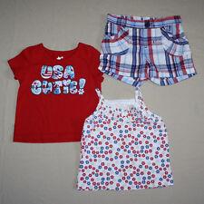 Mixed Lot 3 Pc RW&B Short and Shirts Infant Girls SZ 12M - 3T  July 4th  EUC