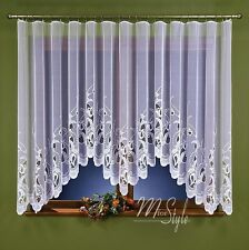 """Jardiniere Net Curtain White Tulips Tape Top Ready Made 118"""" wide x 59"""" drop"""