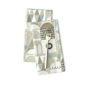 Gray Scandi Abstract Sandcastle Mod Cotton Dinner Napkins by Roostery Set of 2