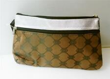 COSMETIC MAKEUP POUCH BAG SILVER AND BROWN PRINT WITH 2 ZIPPERS