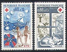 France 1974 Red Cross/Cat/Beach/Birds/Seasons 2v n23251