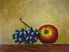 "Massa Grape Apple Original Hand Painted 12""x16"" Oil Painting Food Art"