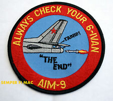 ALWAYS CHECK YOUR 6 PATCH AIM-9 MISSILE PIN UP US ARMY MARINES NAVY AIR FORCE