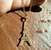 0.25 ct Sim Diamond Ladies Paris Tower Pendant Necklace 14k Yellow Gold Finish