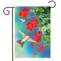 "Hummingbirds Floral Spring Garden Flag Geraniums 12.5"" x 18"" Briarwood Lane"