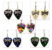 Dragonfly Charm on Guitar Pick Earrings - Choose Color - Handmade in USA