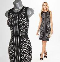 Phase Eight ANESHA Black Laser Cut Floral Print Formal Shift Dress UK10 rrp £120