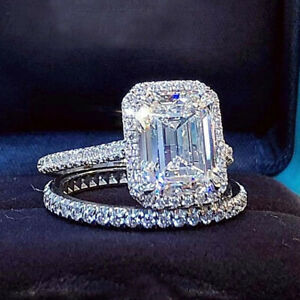 2.88Ctw Emerald Cut Moissanite Halo Bridal Engagement Ring 14k White Gold Plated
