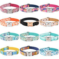 Personalized Dog Collar Custom Engraved Puppy Pet ID Name Tags Adjustable Nylon