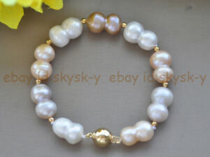 Natural 10x15mm White Pink Purple Freshwater Baroque Gourd Pearl Bracelet 7.5''