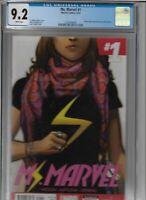 Ms. Marvel Comic #1 CGC Graded 9.2 Marvel 2014 Kamala Khan key issue