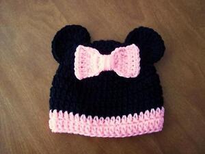 "MINNIE MOUSE hat BLACK PINK crochet baby girl 14"" newborn 3 months USA!"