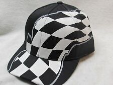 NEW BLACK & WHITE RACING FLAG PATTERN HAT COTTON TWILL BASEBALL CAP CHECKERED