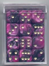 NEW Dice Cube Set of 36 D6 (12mm) - Toxic Black-Pink