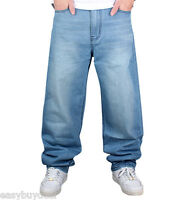New Men's Loose Fit Hip-Pop Baggy Jeans Pants Denim Straight Skateboard Trousers