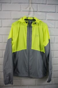 Under Armour UA Heat Gear Sportstyle Windbreaker Hooded Gray Neon Yellow Medium