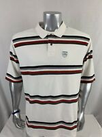 Ecko Unltd Mens Short Sleeve Polo Shirt Sz Large White With Colored Stripes O169