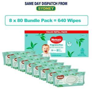 New* 640pcs HUGGIES Thick Baby Wet Wipes Bulk Mega Pack Fragrance Free