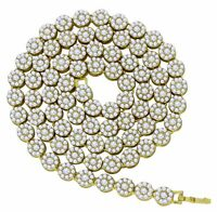 """Mens 1 Row Cluster Chain 14k Gold Plated Iced Out Cz Hip Hop Flower Necklace 30"""""""