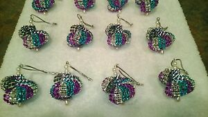 12 HANDMADE CHRISTMAS ORNAMENTS MADE WITH BLING TEAL SILVER AND PURPLE