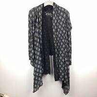 Maria Pinto Mesh Waterfall Cardigan Sweater Small Black Semi Sheer Draped