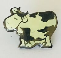 Dairy Cow Black White Souvenir Pin Badge Vintage Original (C1)