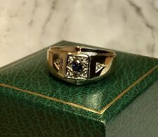 14k Solid Yellow Gold Genuine Sapphire/Diamond Gemstone Mens Ring SZ-8.5-5.9gr