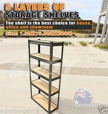 5 Tier Layer Shelves Racking Steel Storage Shelf Rack Garden Garage Warehouse