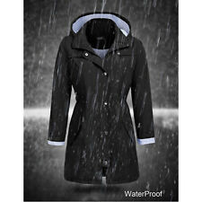 Women Rain Mac Waterproof Festival Jacket Ladies Anorak Hooded Coats RainCoat US