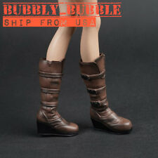 "1/6 Scale Combat Boots BROWN For 12"" Phicen Hot Toys Female Figure SHIP FROM USA"