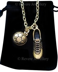 Gold Football Boot and Ball Necklace Sports Soccer Pendant Gifts for Men + Bag