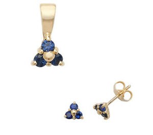 Sapphire Pendant and Earrings Set Three Stone Trilogy 9ct Yellow Gold Hallmarked